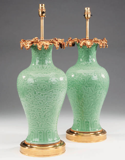 A pair of Continental celadon
