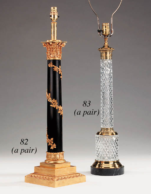 A pair of glass and gilt bronz