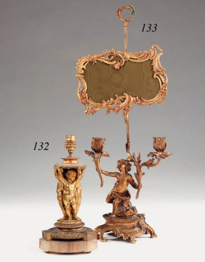 A French gilt bronze and onyx