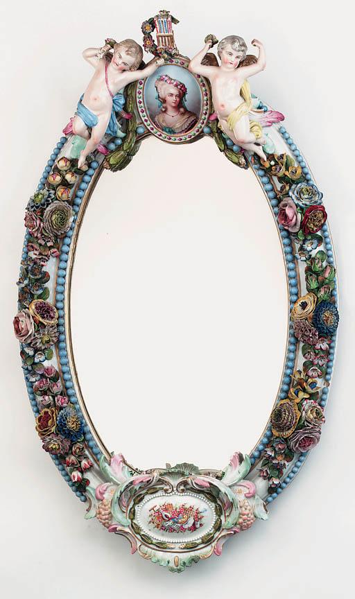 A Dresden porcelain framed wal