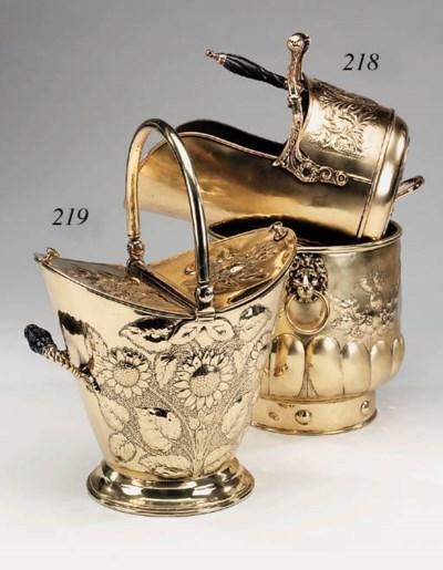 An English repoussé brass coal