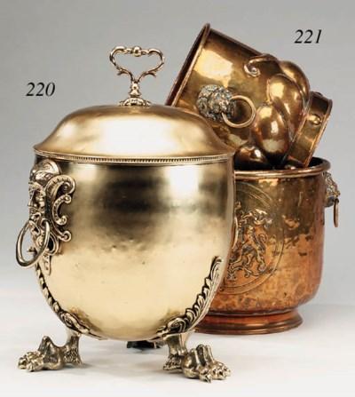 A Victorian brass log bin, las