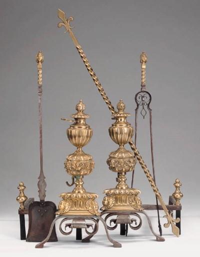 A pair of Continental brass an