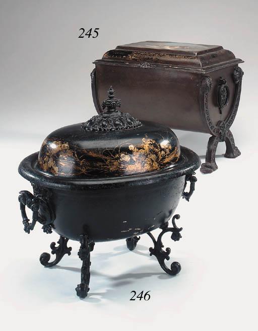 A Victorian japanned metal coa