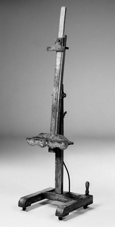 An English oak studio easel, e