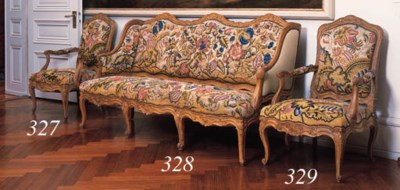 A pair of fauteuils and a cana