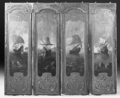 A set of four painted panels