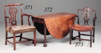 A mahogany open armchair, part