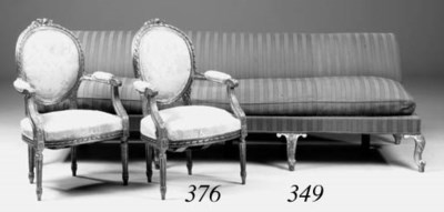 A pair of giltwood fauteuils,