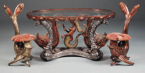 A brass, copper and silvered s