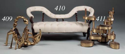 A walnut settee, 19th century