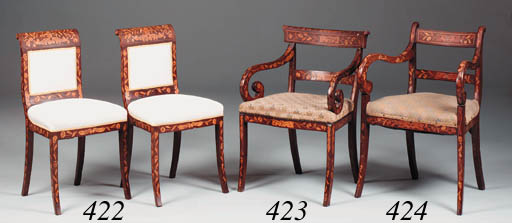 A set of six Dutch walnut, flo