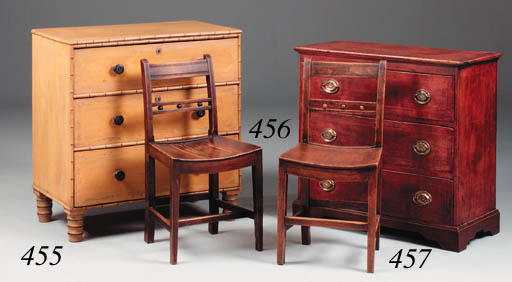 A red painted pine chest, earl