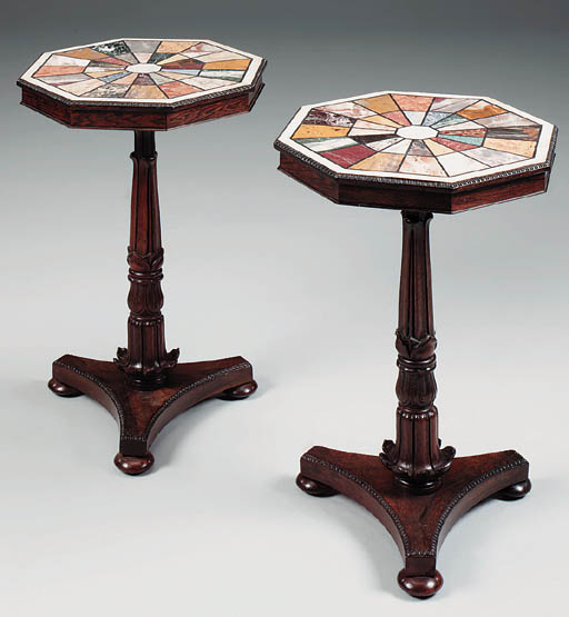 A pair of rosewood octagonal s