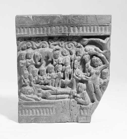 An Indian relief wood carving