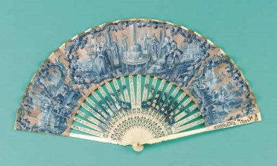 A fan, the leaf painted in ton