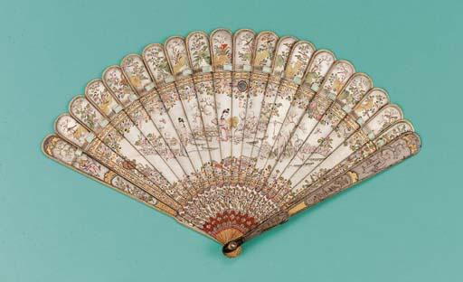 A Canton brise fan, lacquered