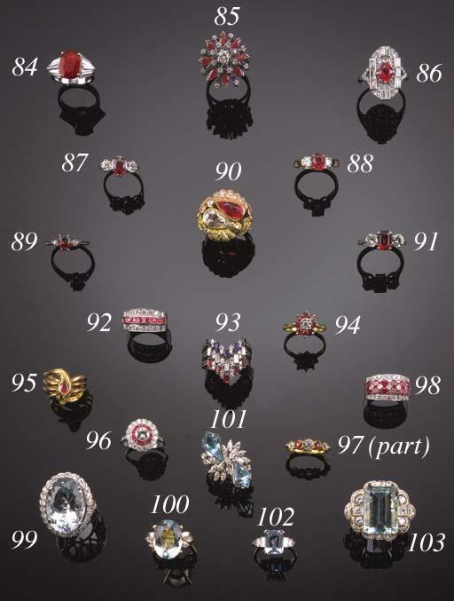 A set of three diamond and gem