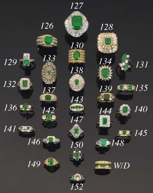 A diamond and emerald three st