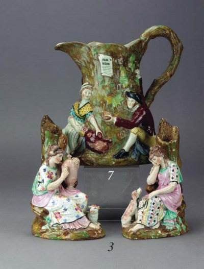A pair of pearlware spill vase