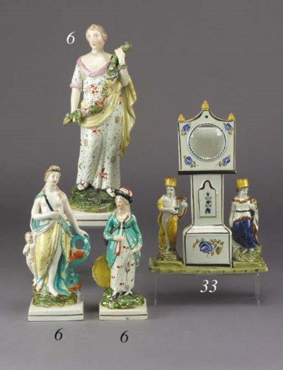 A pearlware figure of a woman