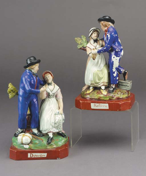 A pair of pearlware groups of