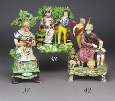 A pearlware table base figure