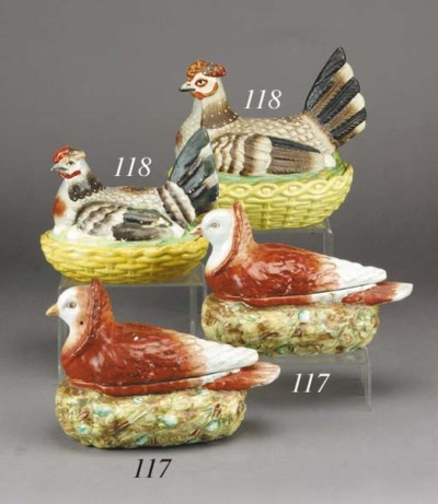 Two pottery hen tureens