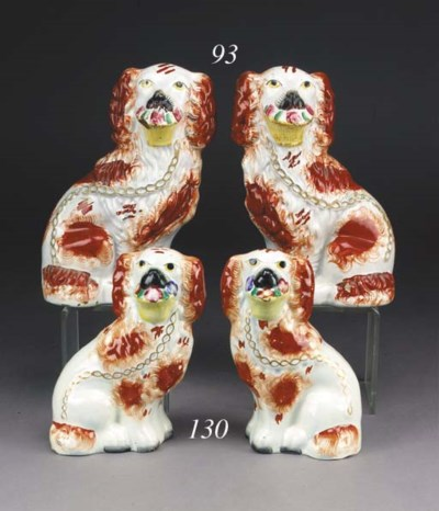 A PAIR OF MODELS OF SPANIELS H