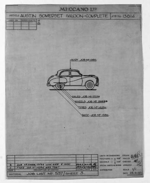 Dinky Drawings - 40 Series English Saloon Cars
