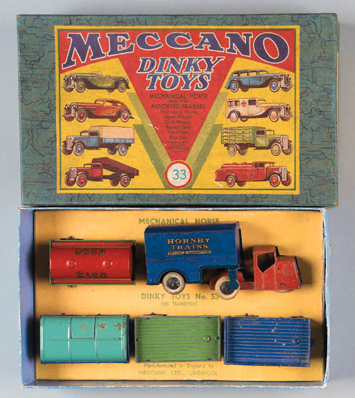 Dinky Pre-War Set 33 Mechanical Horse and Assorted Trailers