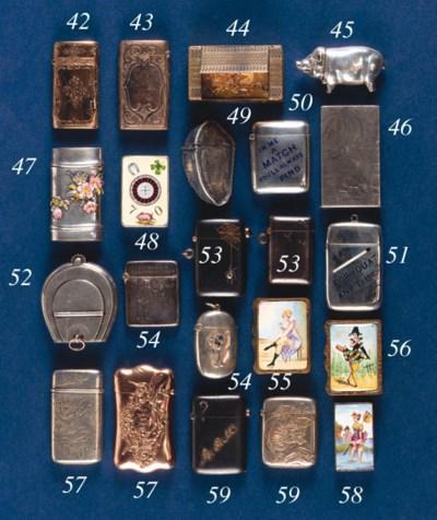 A brass box-type vesta case