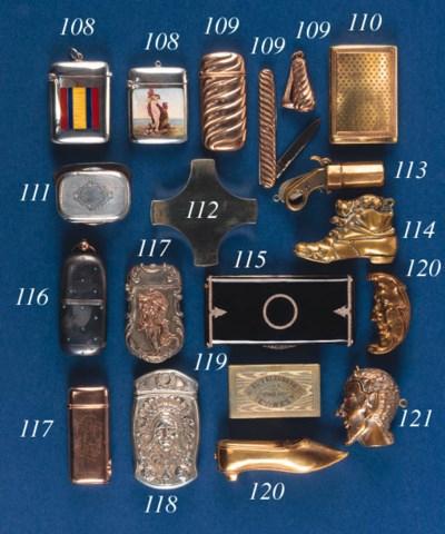 A brass novelty vesta case
