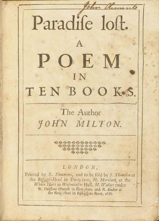 MILTON, John.  Paradise lost.
