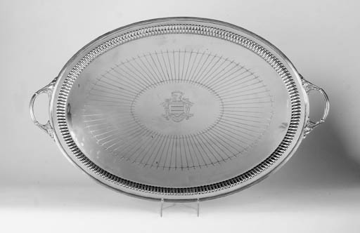 A VICTORIAN TWO-HANDLED TRAY