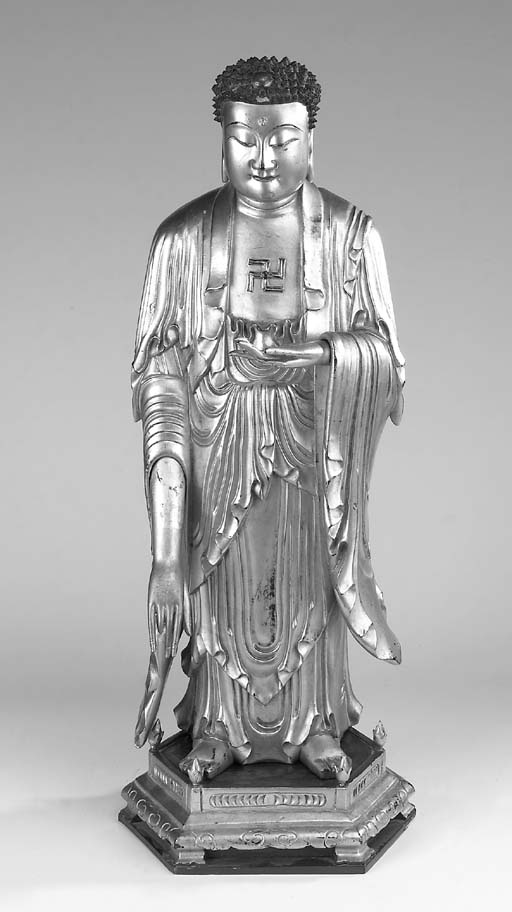 A Chinese giltwood and lacquer Buddha