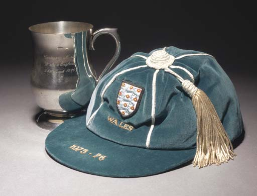 A blue England v. Wales International cap, 1975-76; and a pewter tankard, inscribed Centenary Match, Wales v. England, 24th March 1976