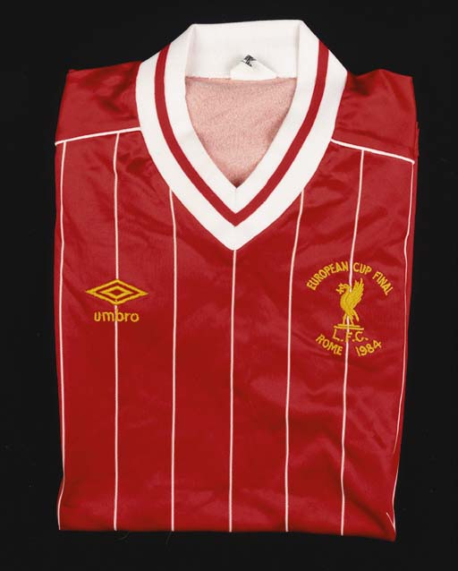 A red and white pinstripe Liverpool European Cup final 1984 short-sleeved shirt, No.2, with v-neck collar and embroidered badge, inscribed European Cup Final, L.F.C., Rome 1984