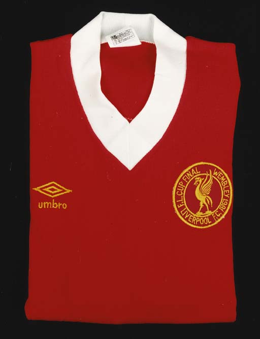 A red and white Liverpool shirt, No.2, with v-neck collar and embroidered cloth badge, inscribed F.L.Cup Final, Wembley 1981, Liverpool F.C.; and a red tracksuit top with similar inscription