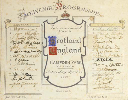 Scotland v. England, Victory International souvenir programme, 14th April 1945, fully autographed by both teams