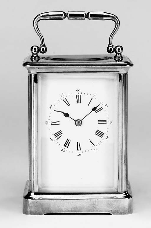 A French brass striking carriage clock, last quarter 19th century