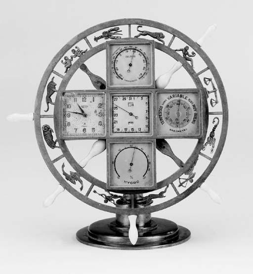 A Swiss gilt brass compendium desk timepiece for the Spanish market, third quarter 20th century