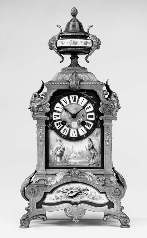 A French gilt-spelter and porcelain striking mantel clock, late 19th century