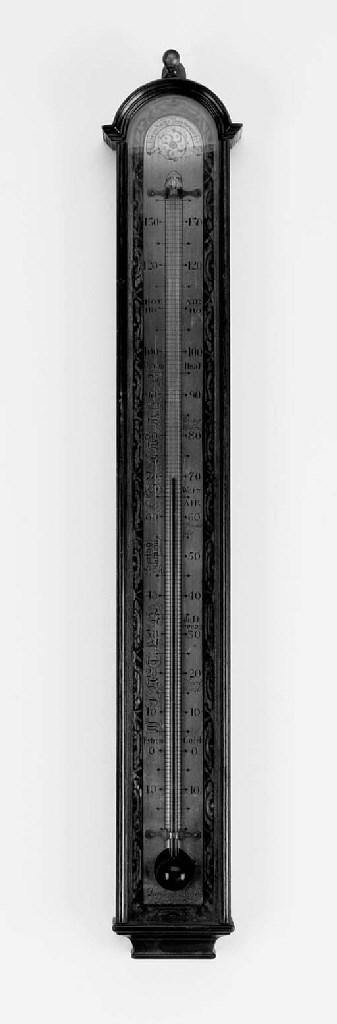 A mahogany wall thermometer, 2