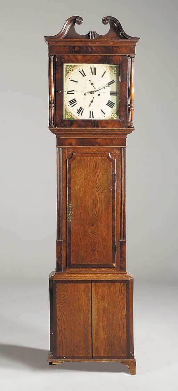 A William IV oak and mahogany longcase clock, second quarter 19th century