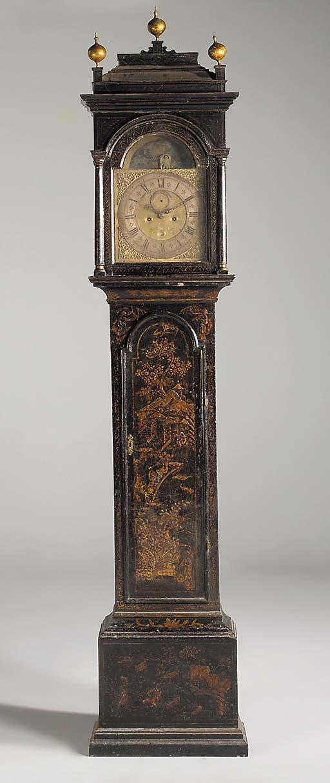 An English black lacquer longcase clock