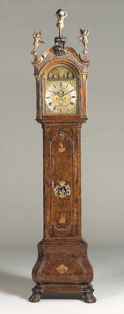 A Dutch walnut and inlaid automaton longcase clock, mid 18th century