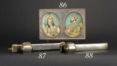 An Indian silver box and minia