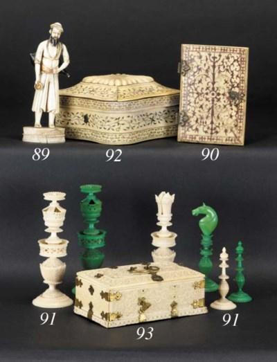 A Moghul ivory box and hinged