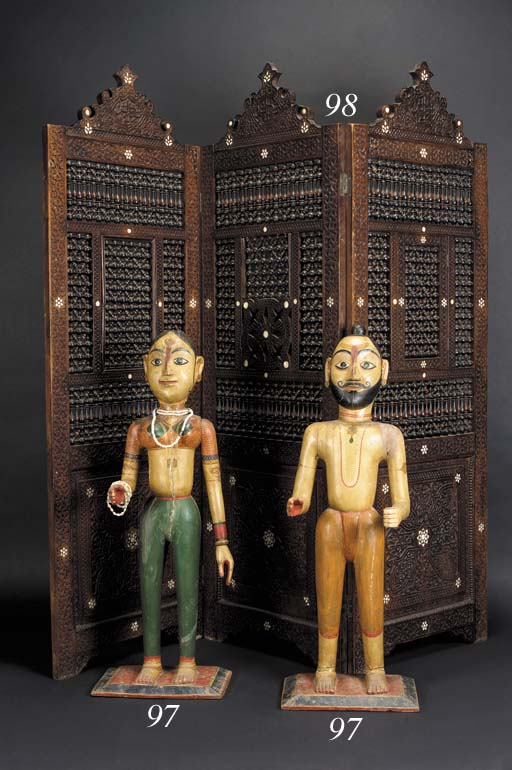 A pair of Indian polychrome wo
